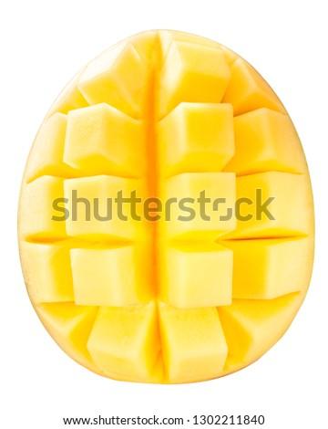 Mango (fruit of Mangifera indica), cube styled, top view