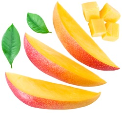 Mango fruit slices, cubes and leaves over white. File contains clipping paths.