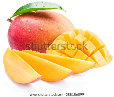 Mango fruit with mango cubes and slices. Isolated on a white background.