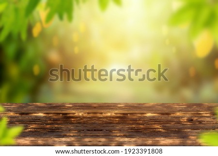 Mango garden with fruits and wooden table background. Сток-фото ©