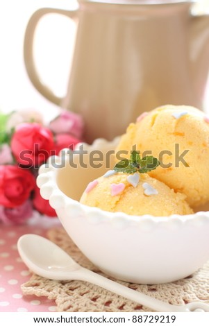 Mango ice cream with mint - stock photo