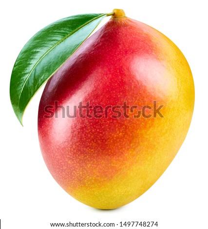 Mango isolated on white background. Ripe mango Clipping Path. Mango with leaf