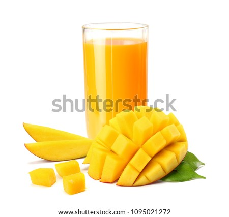 mango juice with mango slice isolated on white background. glass of mango juice. #1095021272
