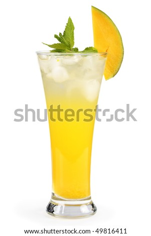 Mango mint cocktail in a glass. Isolated on a white background. Studio shot.