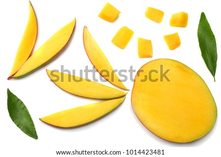 mango slice with green leaves isolated on white background. top view