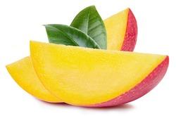 Mango slice with leaves. Fresh organic mango isolated on white background. Mango with clipping path