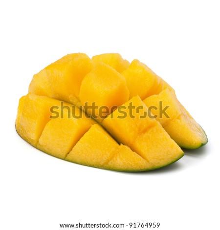 Mango sliced part isolated on white background