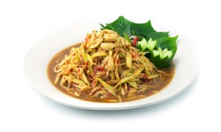 Mango Spicy Salad Thai Food Hot & Spicy Tasty Appetizer or Free Time can eat Delicious dish decorate Wild Betel,Acacia,onion and Carved Cucumber sideview