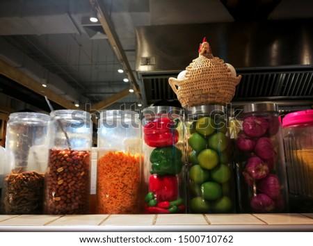 Mango Spicy Salad with Crispy Fish.  Food  ingredients Green mango, Shallot, lemonade, sugar, cayenne, fried beans