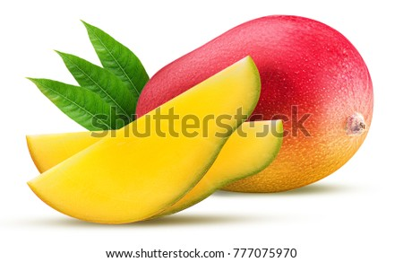 Mango with a leaf exotic friut with slice isolated on white background. Clipping Path. Full depth of field.