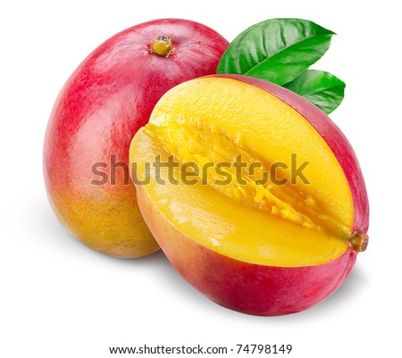 Mango with cut and green leafs isolated on white background - stock photo