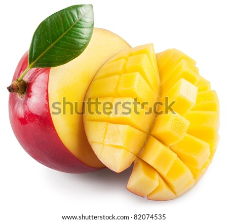 Mango with section on a white background. File contains a path to cut.