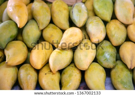Mangoes, Mangifera indica, on a market in Thailand, Southeast Asia, Asia