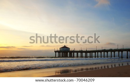 Manhanttan Beach Pier in Los Angeles, California just before sunset.