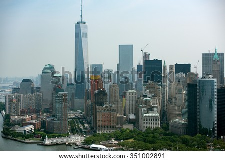 manhattan aerial view from helicopter #351002891