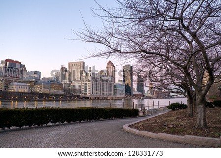 Manhattan and East river view from the Roosevelt Island, New York City, USA