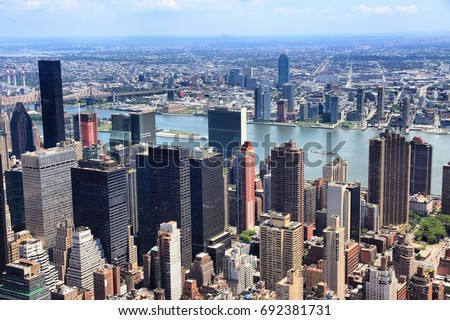 Manhattan and Queens aerial view in New York City. Tudor City and Medical City districts. Stock fotó ©