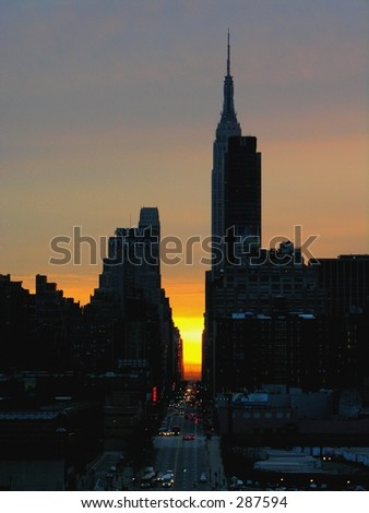 Manhattan and the Empire State Building at sunrise...