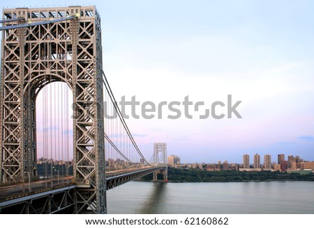 Manhattan and the George Washington Bridge as viewed from Fort Lee, NJ.  River shown is the Hudson River.  Photographed June, 2007 in the USA.