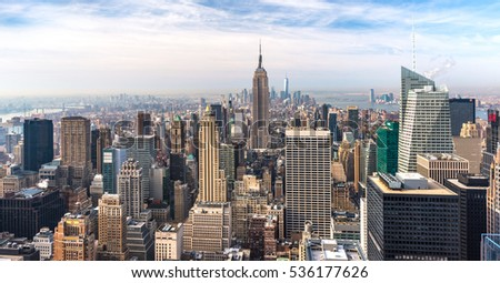 Manhattan - April 2015, New York, USA: View from Rockefeller Center towards Lower Manhattan in early morning #536177626