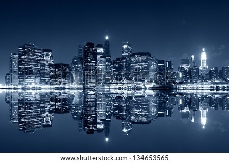 Manhattan at night, New York City. View from Brooklyn #134653565