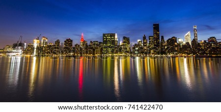 Manhattan at night, view from Long Island, USA #741422470