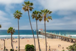 Manhattan Beach and Pier at day time in Southern California in Los Angeles.