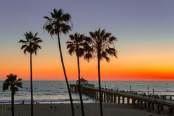 Manhattan Beach and Pier at sunset in Southern California in Los Angeles.