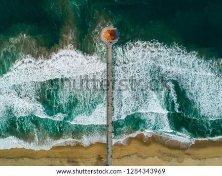 Manhattan Beach California Pier looking straight down #1284343969