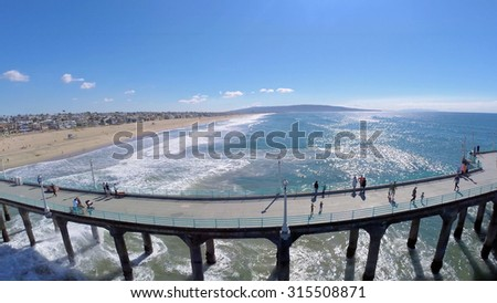 MANHATTAN BEACH - NOV 02, 2014: Manhattan Beach Pier with several people at sunny day. Aerial view. The pier is 283 meters long.