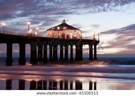 Manhattan Beach Pier Blue Hour Sunset