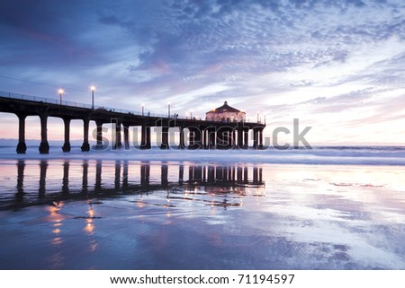 Manhattan Beach Pier Low Tide at Sunset