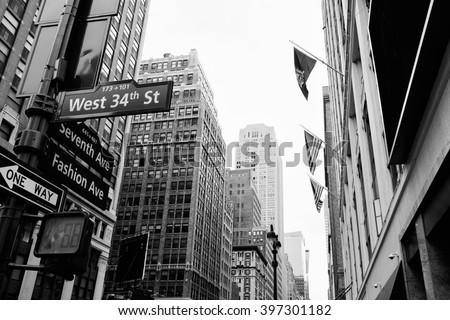 stock photo manhattan beautiful street view with big buildings and flags new york usa financial district 397301182 - Каталог — Фотообои «Улицы, переулки»