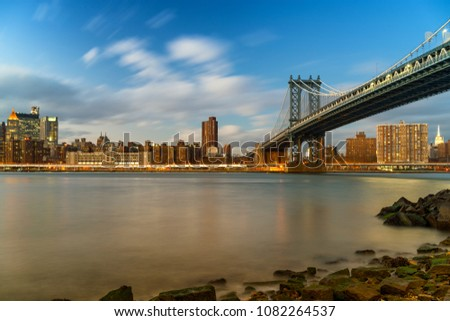 Manhattan bridge and Manhattan after sunset, New York City #1082264537