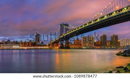 Manhattan bridge and Manhattan after sunset, New York City #1089878477