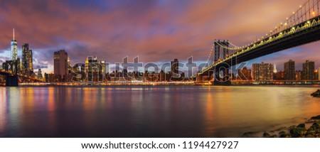Manhattan bridge and Manhattan after sunset, New York City #1194427927