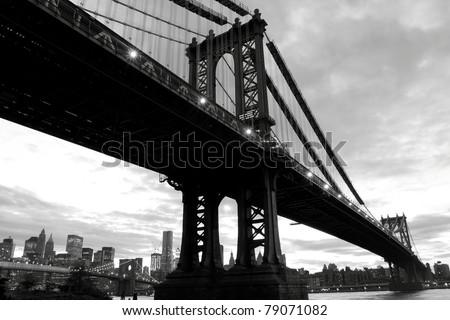 Manhattan Bridge and Manhattan skyline At Night Lights, New York City - stock photo
