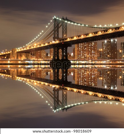 Manhattan Bridge and Manhattan skyline At Night, New York City