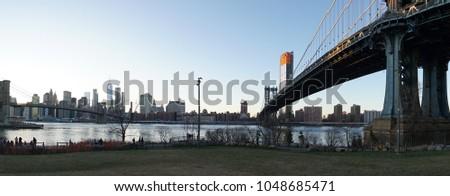 Manhattan Bridge and Manhattan Skyline Panorama in New York City. #1048685471