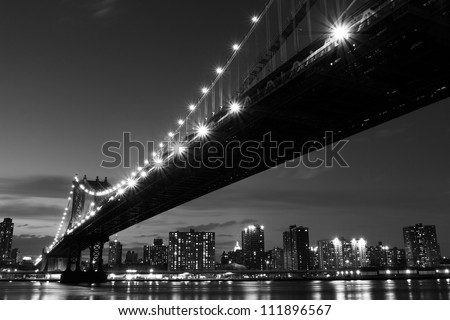 Manhattan Bridge and skyline At Night, New York City #111896567