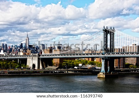 Manhattan Bridge and skyline on a cloudy day