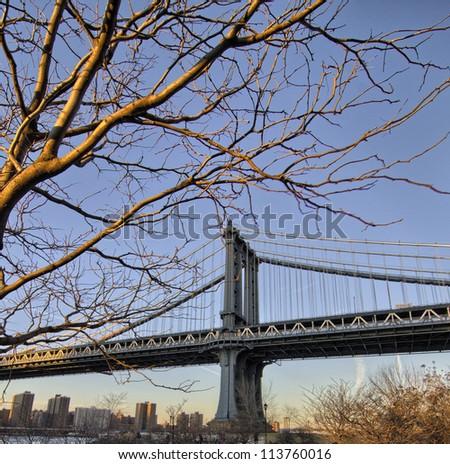 Manhattan Bridge in New York City - Winter sunset