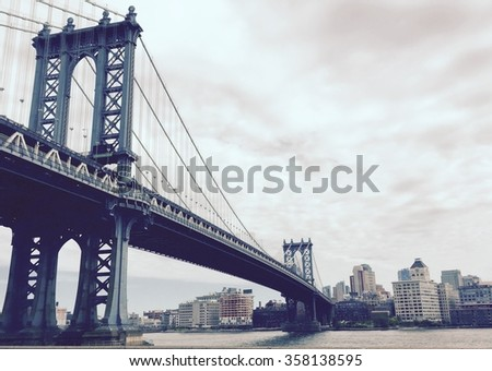 Manhattan bridge in vintage style, New York