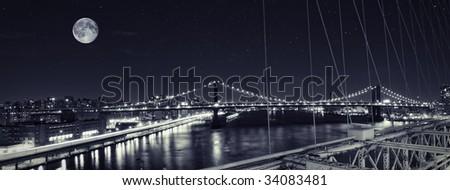 Manhattan bridge looking from Brooklyn Bridge