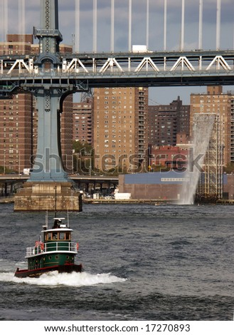 Manhattan Bridge & Man-Made Waterfall installation