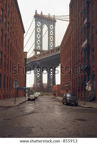 Manhattan Bridge, New York, view from Brooklyn.