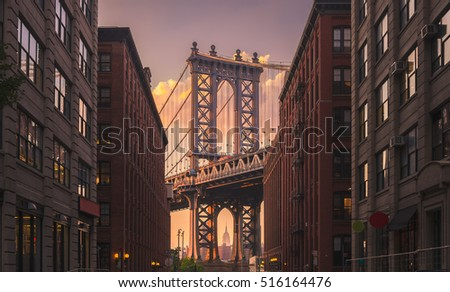 stock photo manhattan bridge seen from a brick buildings in brooklyn street in perspective new york usa shot 516164476 - Каталог - 3d фотообои