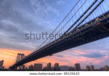 Manhattan Bridge spanning the East River in New York City.