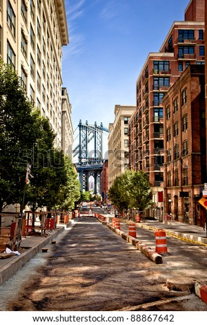 Manhattan bridge,view from Washington street, Brooklyn,  New york - stock photo