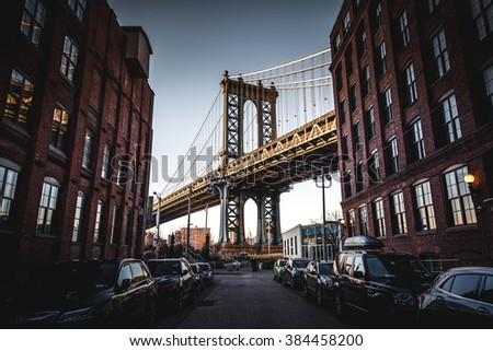 Manhattan Bridge wide angle down Washington Street #384458200